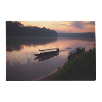 Boat on the river in the Amazon jungle placemat