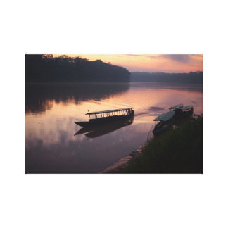 Boat on the river in the Amazon rainforest canvas