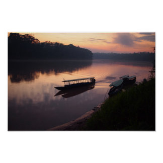Boat on the river in the Amazon rainforest poster