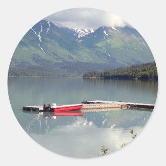 Boat on Trail Lake, Alaska Classic Round Sticker