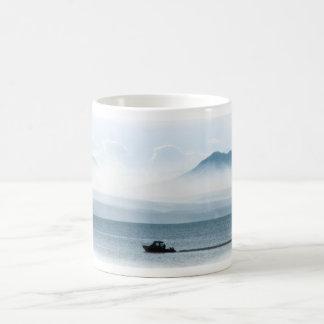 Boat on Yellowstone Lake Coffee Mug