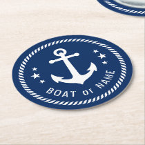 Boat or Name Vintage Anchor Stars Rope Navy Blue Round Paper Coaster