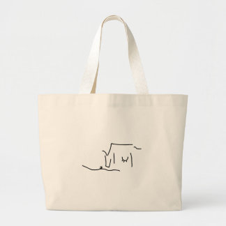 Boat or ship on journey on the sea large tote bag