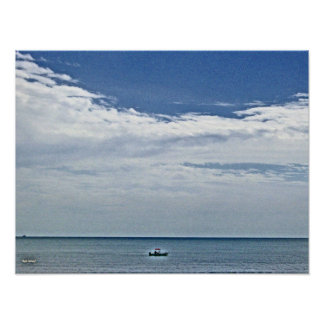 Boat Out At Seas Poster