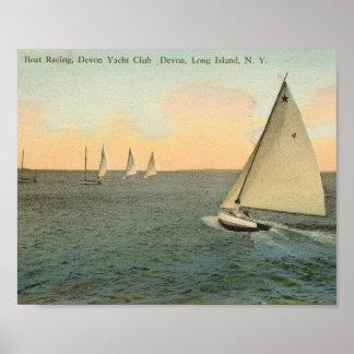 Boat Racing, Devon, Long Island Vintage Poster