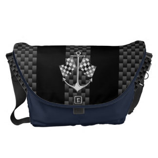 Boat Racing Nautical in Black Carbon Fiber Style Courier Bag