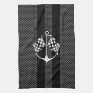 Boat Racing Nautical in Carbon Fiber Decor Kitchen Towel