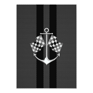 Boat Racing Nautical in Carbon Fiber Style Card