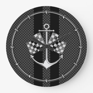 Boat Racing Nautical in Carbon Fiber Style Clock