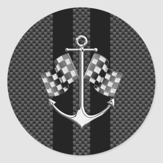 Boat Racing Nautical in Carbon Fiber Style Decor Classic Round Sticker