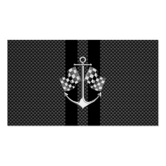Boat Racing Nautical in Carbon Fiber Style Double-Sided Standard Business Cards (Pack Of 100)