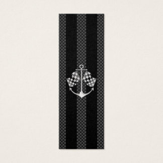 Boat Racing Nautical in Carbon Fiber Style Mini Business Card