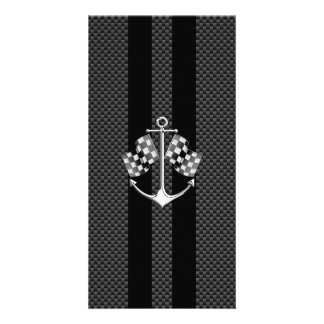 Boat Racing Nautical in Carbon Fiber Style Personalized Photo Card