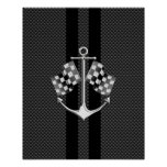 Boat Racing Nautical in Carbon Fiber Style Poster