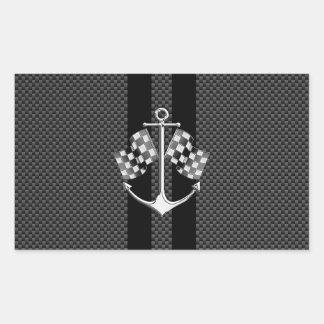 Boat Racing Nautical in Carbon Fiber Style Rectangular Sticker