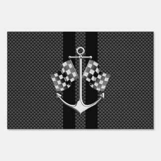Boat Racing Nautical in Carbon Fiber Style Signs