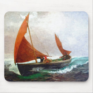 Boat reaches the beach mouse pad