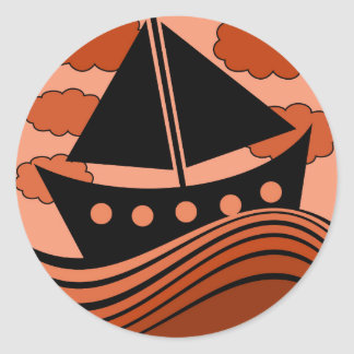 Boat - red classic round sticker