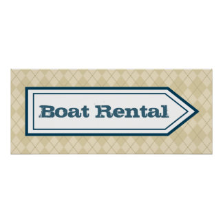 Boat Rental Sign Wall Decor Lake House Poster Art