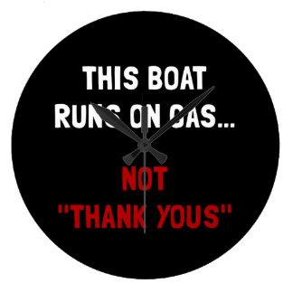 Boat Runs Gas Large Clock