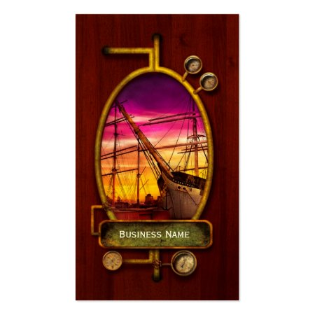 Boat Fleet Sailing Redwood Grain Steampunk Business Cards