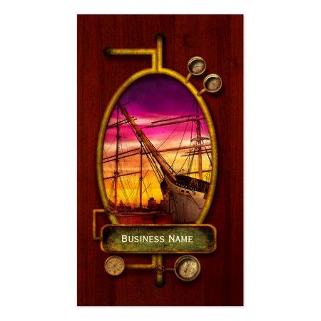 Boat Fleet Sailing Redwood Grain Steampunk Business Cards