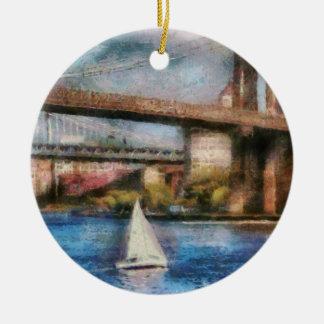 Boat - Sailing under the Brooklyn Bridge Ceramic Ornament