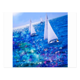 Boat, sea and corals postcard
