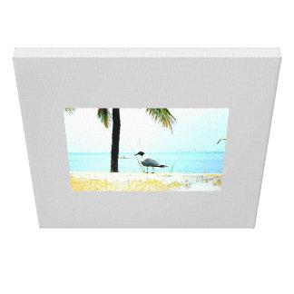 Boat, sea, gull. canvas print