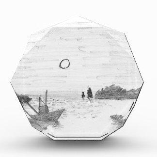 boat silhouette acrylic award