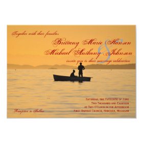 Boat Silhouette Couple Lake Wedding Invitations 4.5