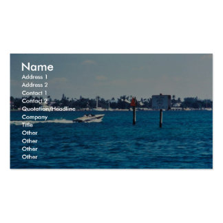 Boat speeding through manatee idle zone business card template