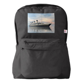 boat_titanic_close_water_waves_sunset_pink_standar american apparel™ backpack