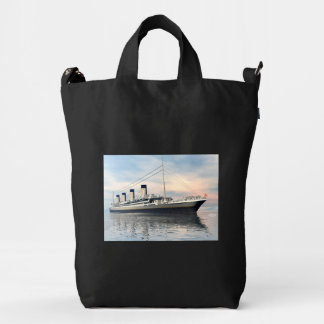 boat_titanic_close_water_waves_sunset_pink_standar duck bag