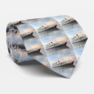 boat_titanic_close_water_waves_sunset_pink_standar neck tie