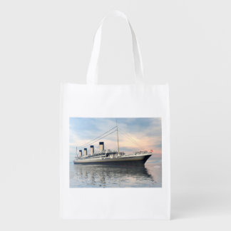 boat_titanic_close_water_waves_sunset_pink_standar reusable grocery bag