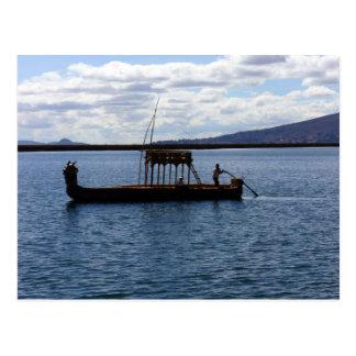 boat titicaca postcard