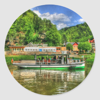 Boat Trip on the River Elbe Classic Round Sticker