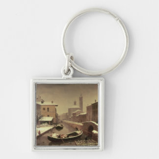 Boat under the Snow Keychain