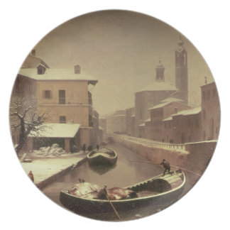 Boat under the Snow Melamine Plate