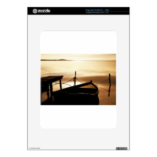 Boat Water Sun Sunset Pond Water Plan Reflections Skin For iPad