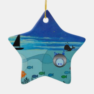 Boat, Whale, diver, fish ocean scene Double-Sided Star Ceramic Christmas Ornament