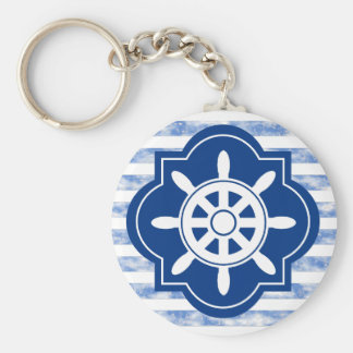 Boat Wheel Silhouette With Nautical Blue Stripes Basic Round Button Keychain
