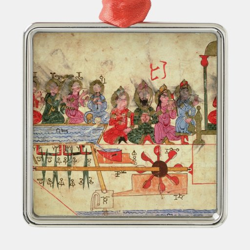 Boat with Automata, illustration Christmas Ornaments