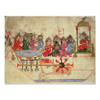 Boat with Automata, illustration Poster