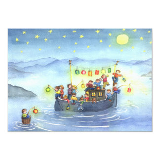 Boat with Children Birthday Party Invitation