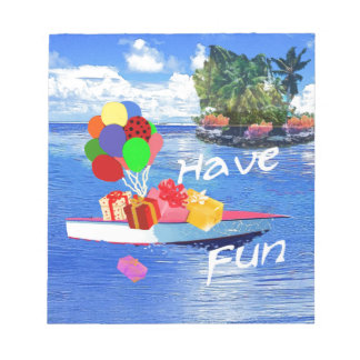 Boat with gift Have fun. Notepad