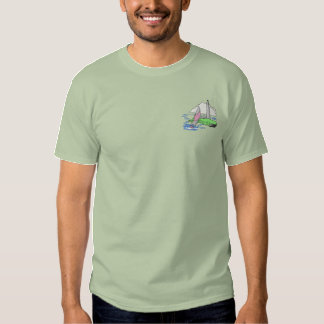 Boat with lighthouse embroidered T-Shirt