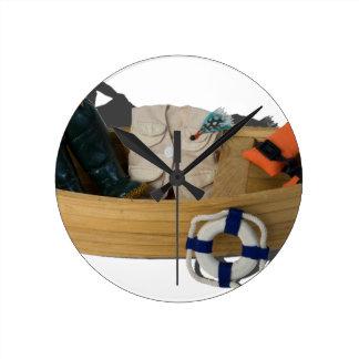 BoatFishingGearLifeVest012915.png Reloj Redondo Mediano
