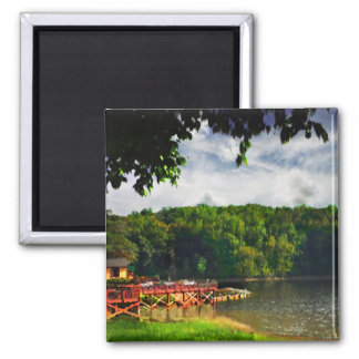 Boathouse at the lake magnets
